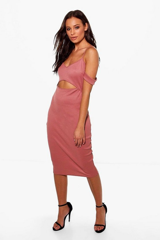 Cornelia Cold Shoulder Split Midi Dress