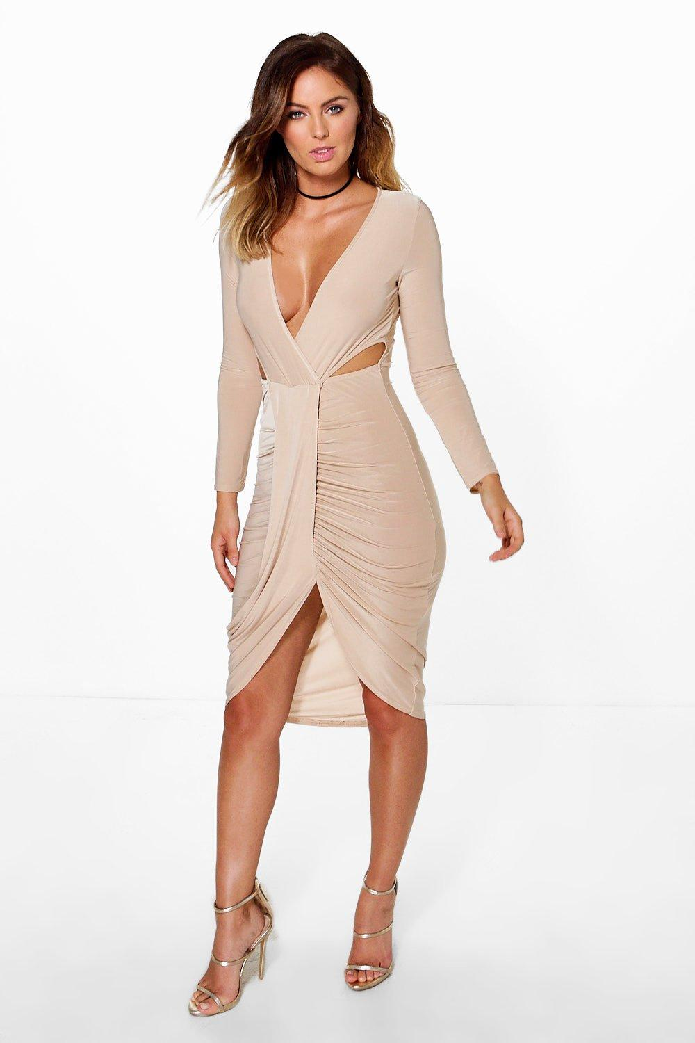 Fran Slinky Cut Out Detail Wrap Midi Dress