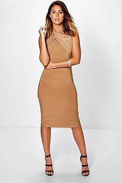 Kerry Twist Neck Slinky Midi Dress