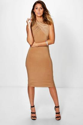 Kerry Twist Neck Slinky Midi Dress