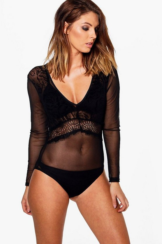 Lisa Lace Insert Long Sleeve Bodysuit