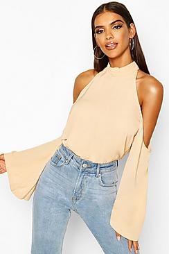 Laura Cold Shoulder Flute Sleeve Blouse