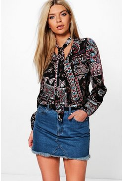 Emma Tie Neck Wrap Blouse