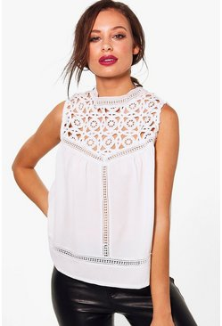 Eva Premium Lace High Neck Woven Top