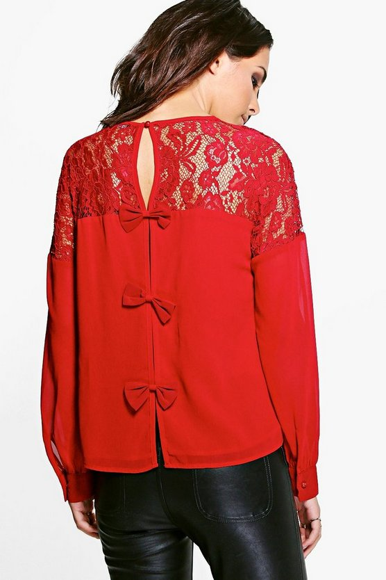 Hattie Long Sleeve Lace Bow Blouse