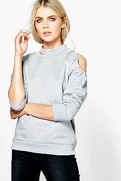 Eleanor Cut Out Neck And Shoulder Sweatshirt