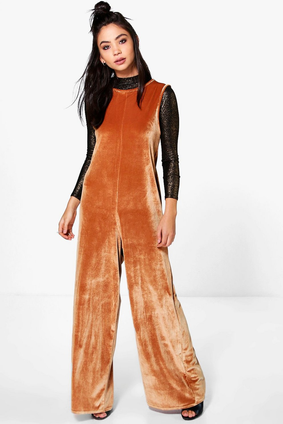 Cheap Sale Cheapest Price Boohoo Velvet Wide Leg Jumpsuit Low Cost Wn4MC5ol2