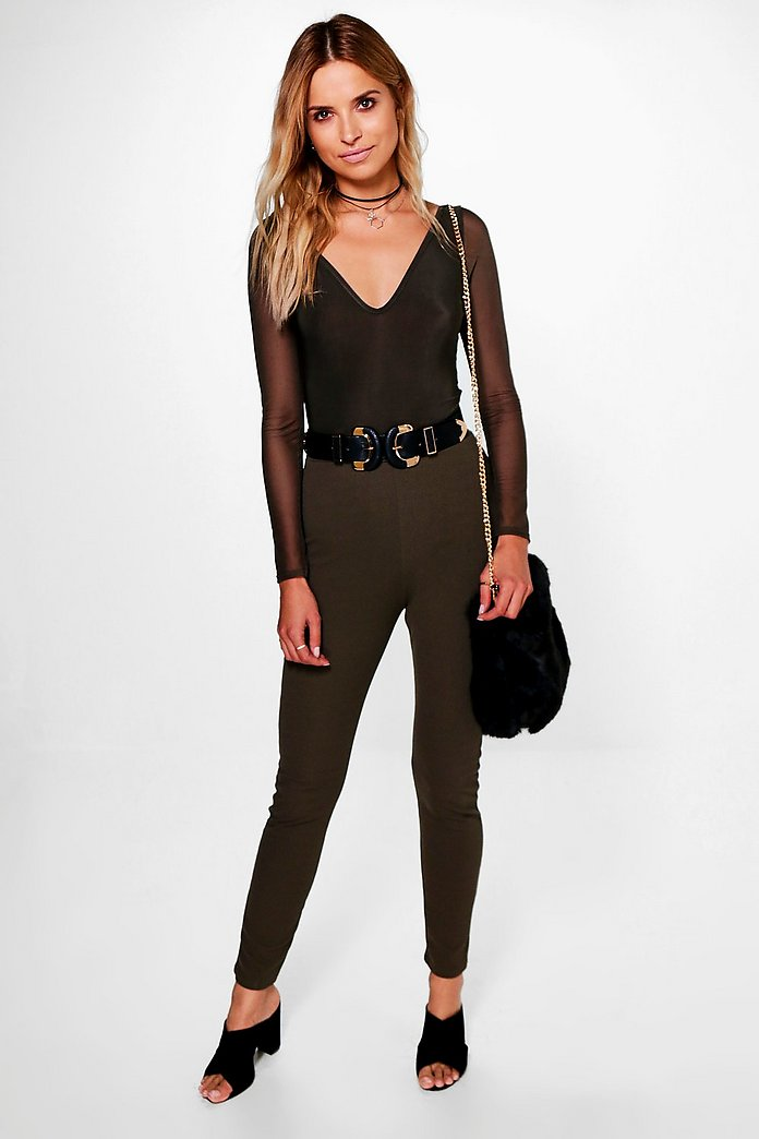 Layla Mesh Plunge Body & Skinny Trouser Co-ord