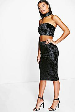 Eva Velvet Bandeau & Skirt With Choker Co-Ord