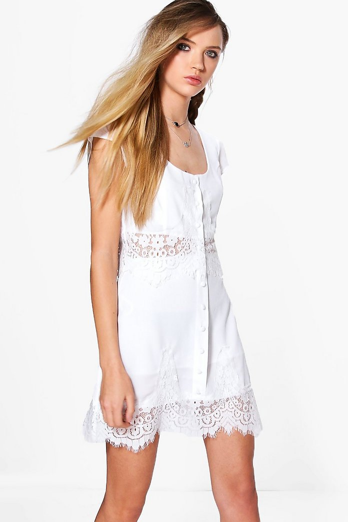 Hollie Scallop Border Lace Top & Mini Skirt Co-Ord