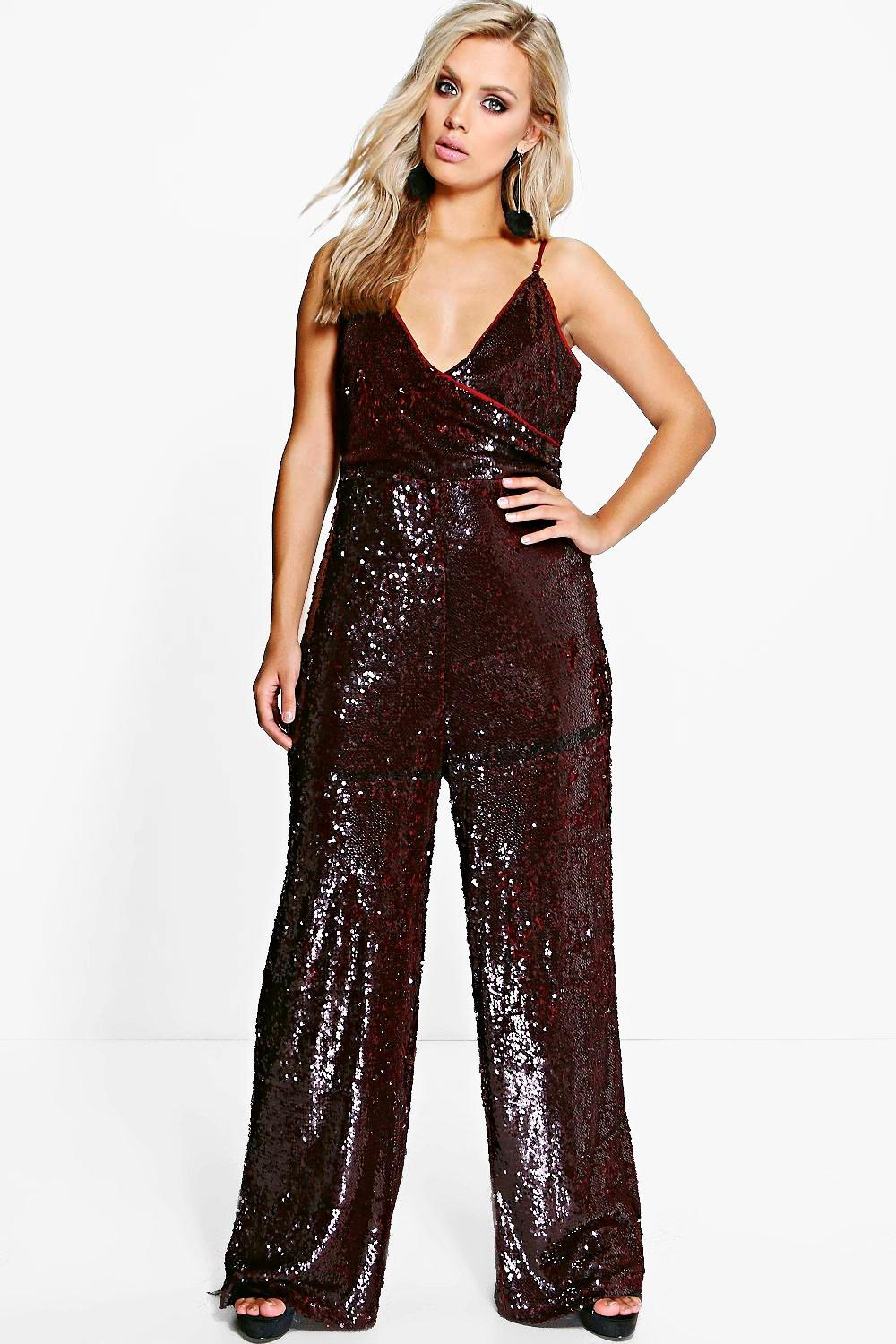 Jordyn Sequin Wrap Strappy Jumpsuit