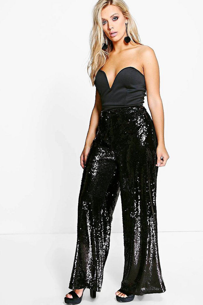 Jordyn Sequin Wide Leg Trouser
