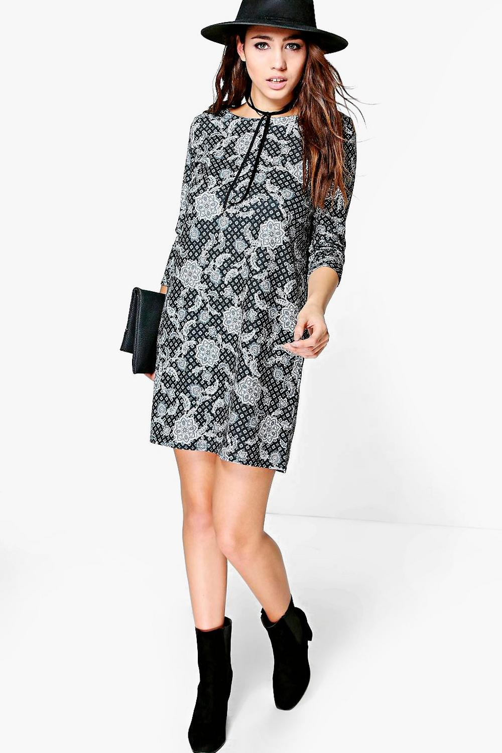 Marsa Printed 3/4 Sleeve Shift Dress