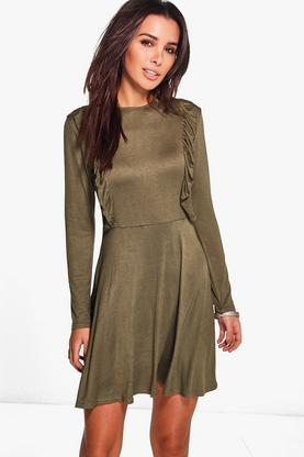 Muriel Ruffle Long Sleeve Skater Dress