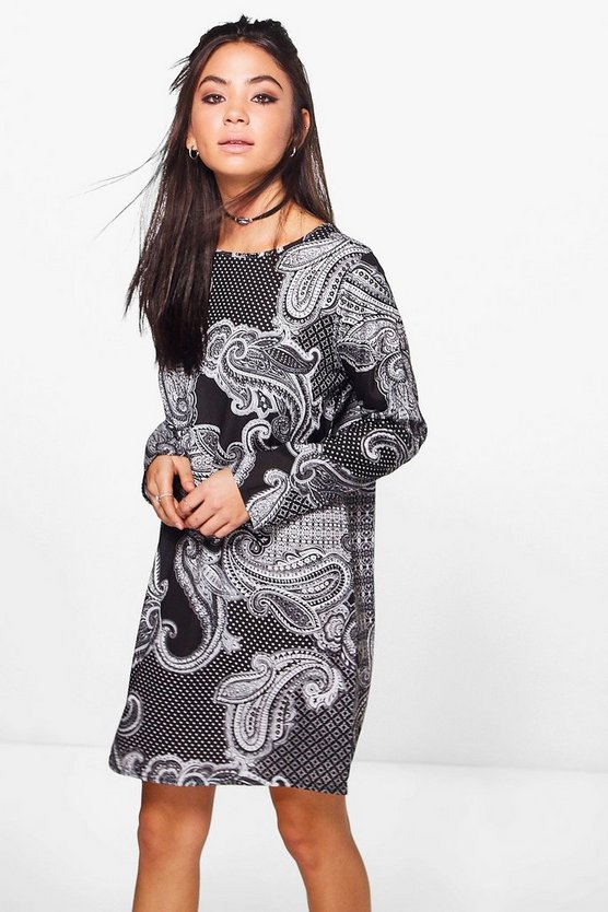 Sophia Paisley Print Long Sleeve Shift Dress
