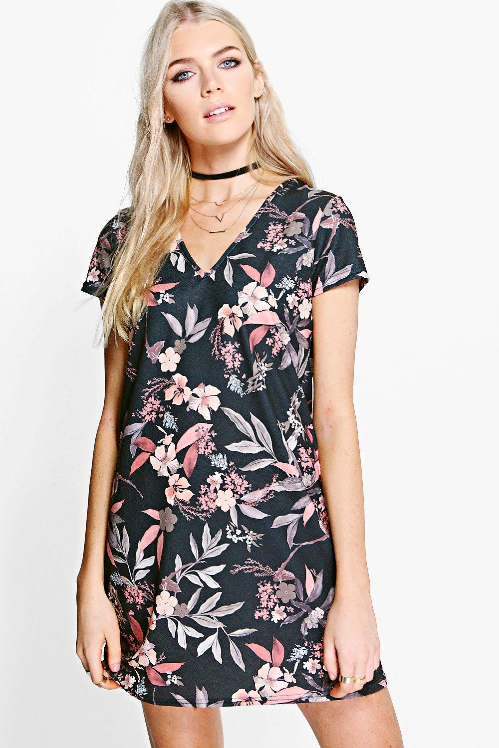 Philly V Neck Floral Shift Dress