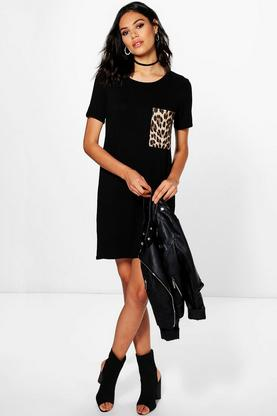 Natasha Animal Print Pocket T-Shirt Dress