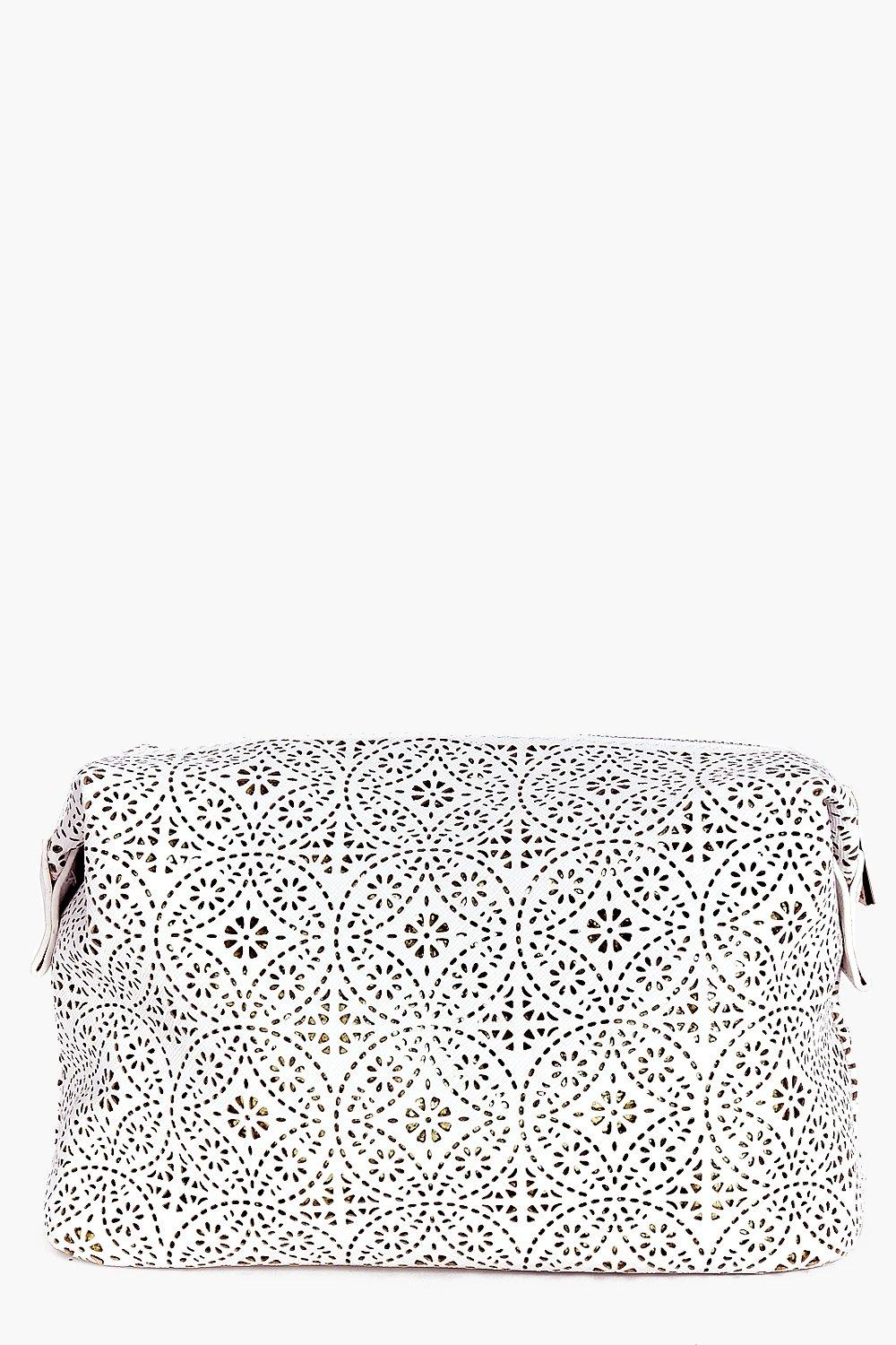 Laser Cut Metallic Detail Make Up Bag