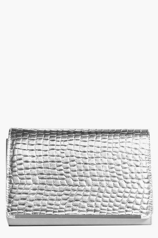 Alice Metallic Metal Trim Clutch Bag