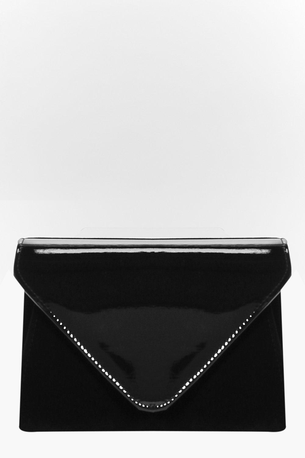 Lucy Contrast Patent Flat Clutch Bag