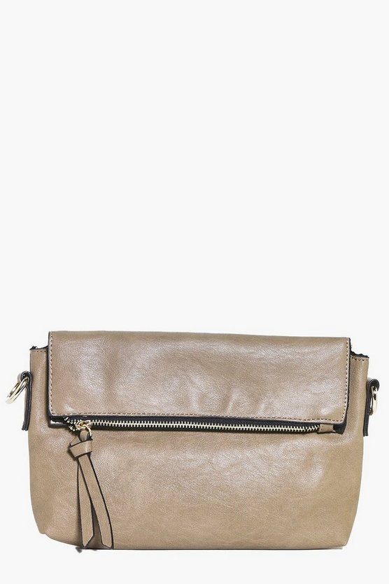 Grace Zip Detail Fold Over Clutch Bag