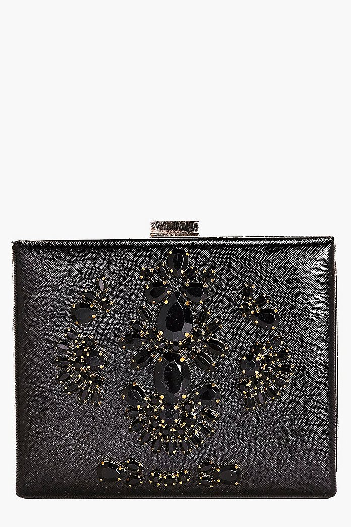 Eve Boutique Diamante Box Clutch Bag