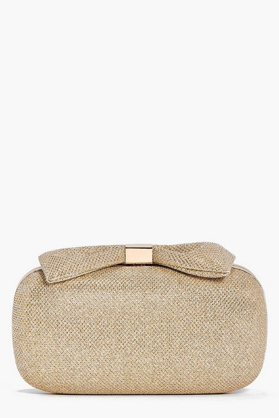 Olivia Glitter Bow Top Box Clutch Bag