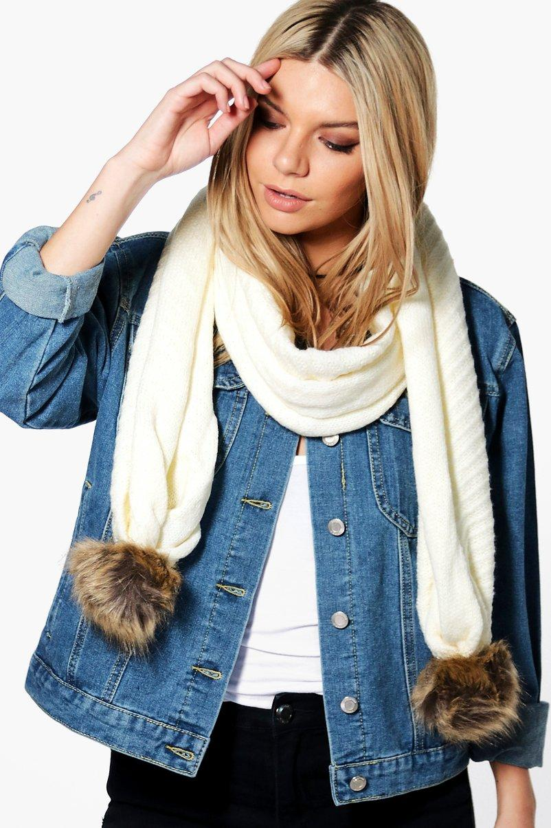 Faux Pom Trim Cable Knit Scarf - cream - Ellie Fau