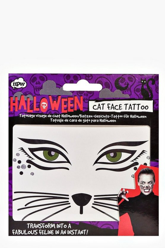 Halloween Cat Face Temporary Tattoo
