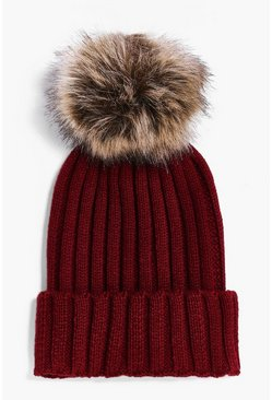Laura Rib Knit Faux Fur Pom Beanie Hat