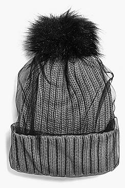 Ava Netted Faux Fur Pom Beanie Hat