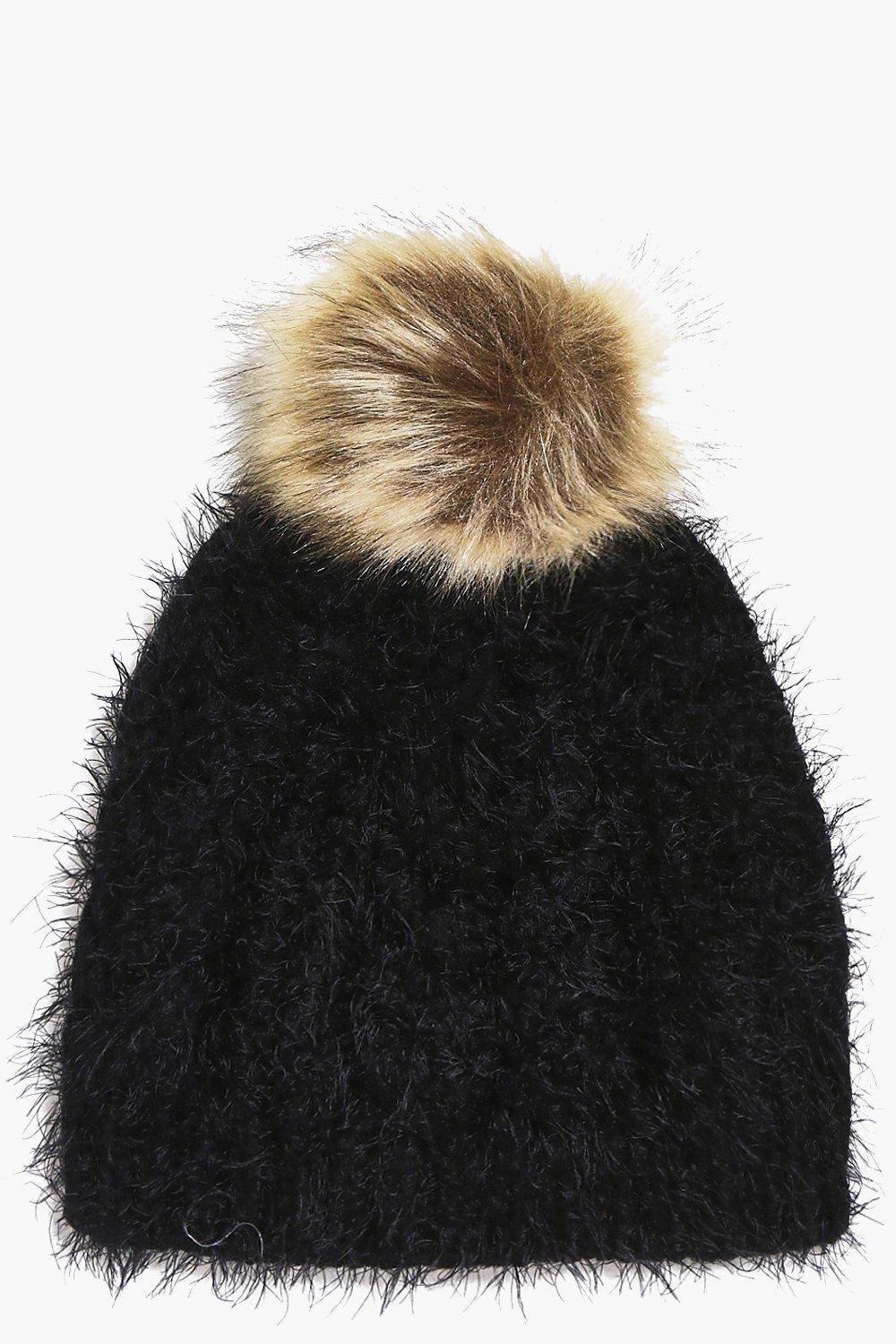 Ivy Super Soft Fluffy Faux Fur Pom Beanie Hat