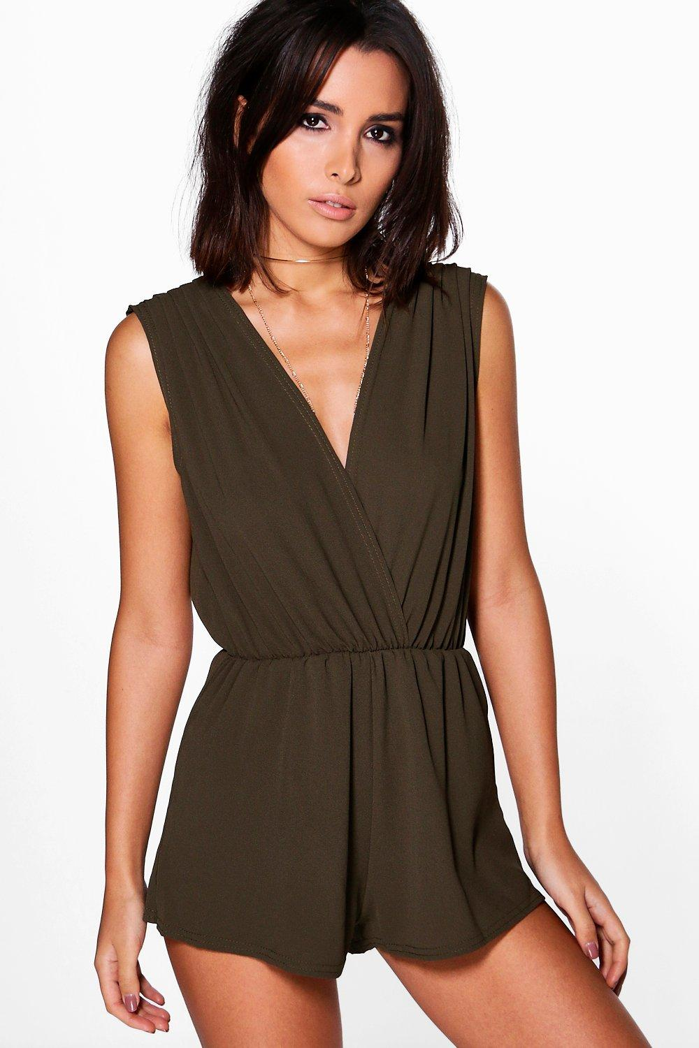 Hannah Pleated Drape Shoulder Playsuit