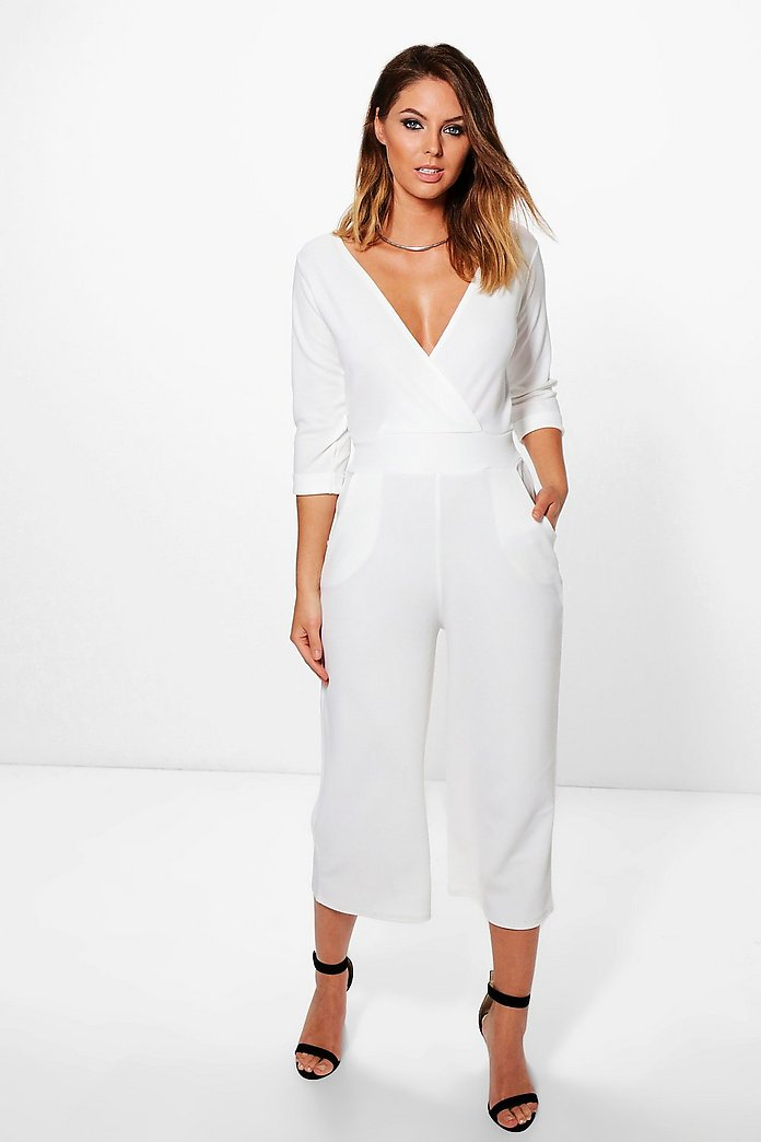 Mia Roll Sleeve Culotte Jumpsuit