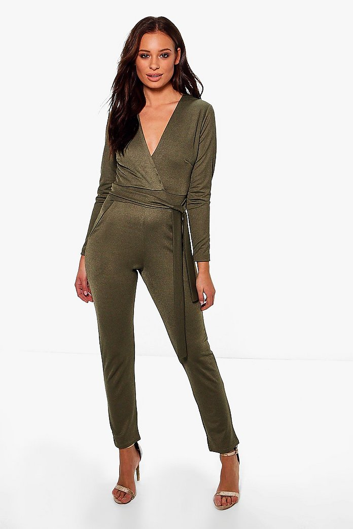Marlin Wrap Front Belted Jumpsuit