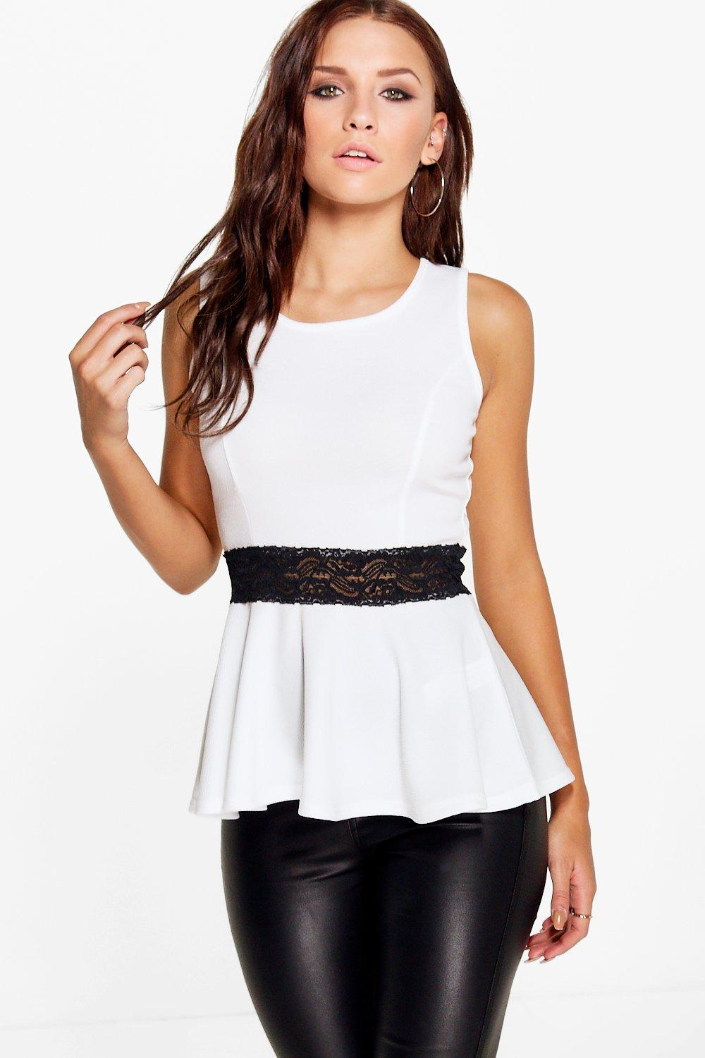 Poppy Lace Detail Peplum Top