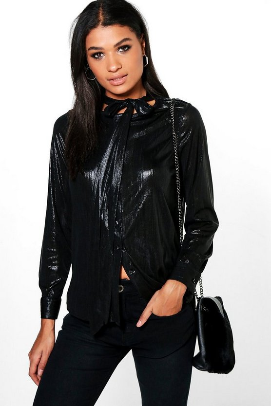 Hollie Metallic Tie Neck Woven Shirt