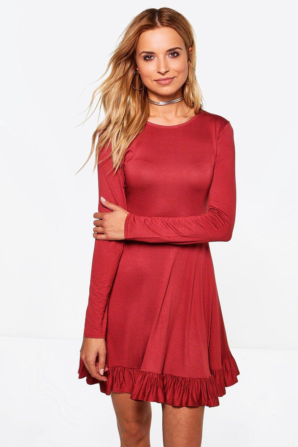 Adelaine Ruffle Hem Skater Dress