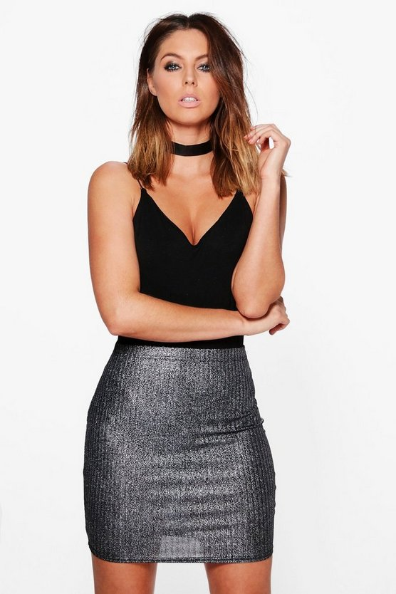 Lonl Foiled Ribbed Mini Skirt