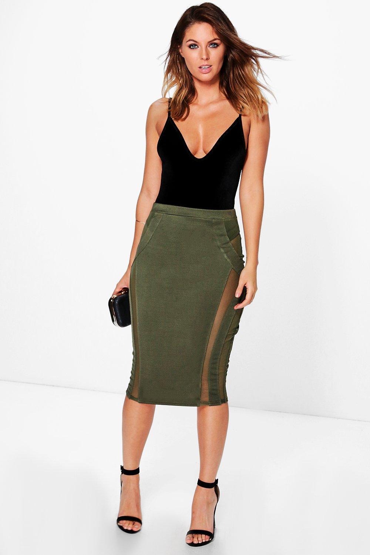 Mesh Insert Midi Skirt  khaki