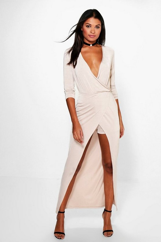 Helen Deep Plunge Wrap Over Maxi Playsuit