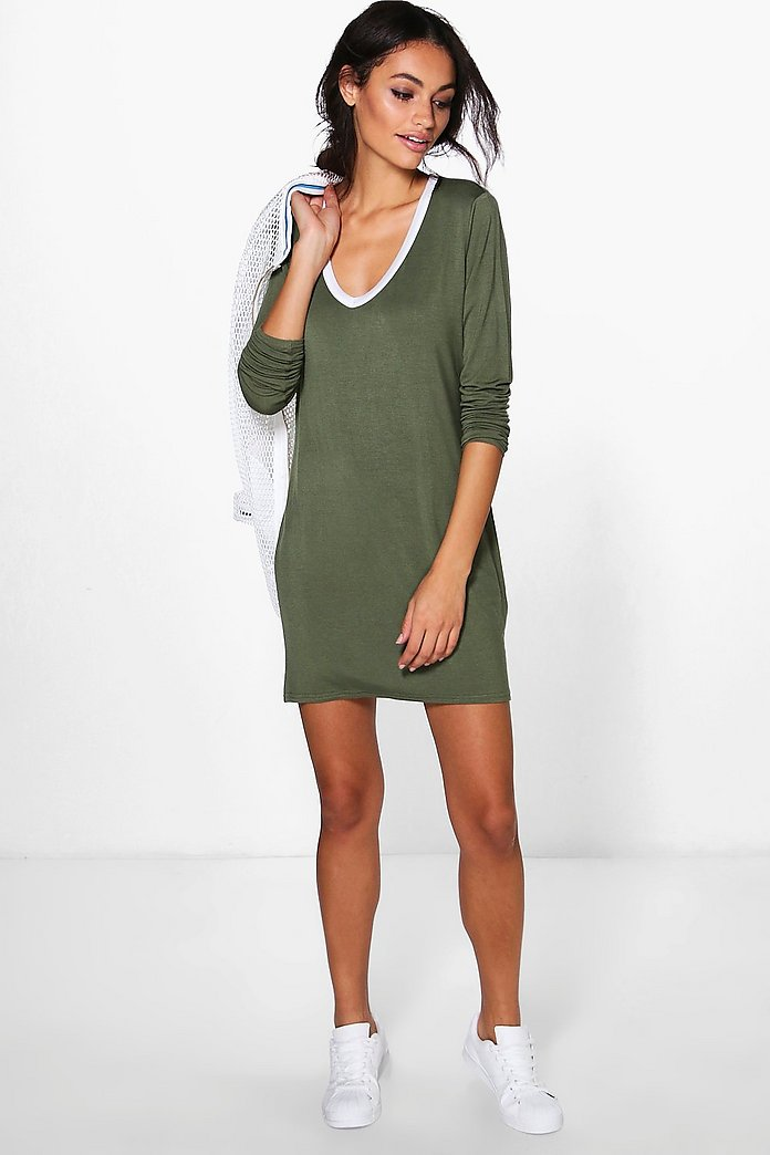 Nikki V Neck Contrast T-Shirt Dress