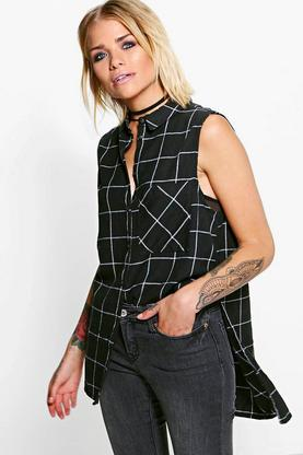 Abigail Sleeveless Woven Checked Shirt