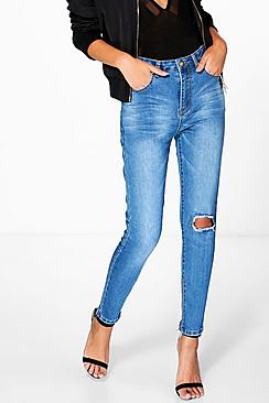 Jess High Rise Skinny Jeans With Zips