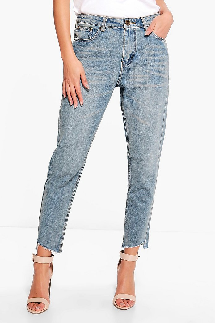Jenny Low Rise Destroyed Hem Boyfriend Jeans
