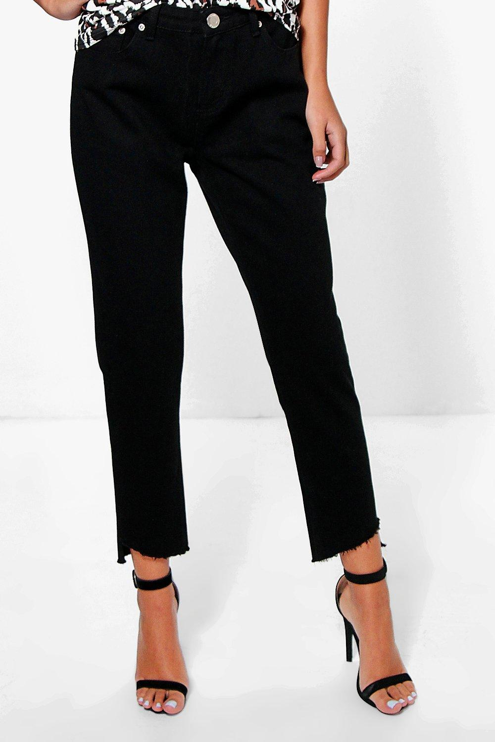 Low Rise Destroyed Hem Straight Leg Jeans  black