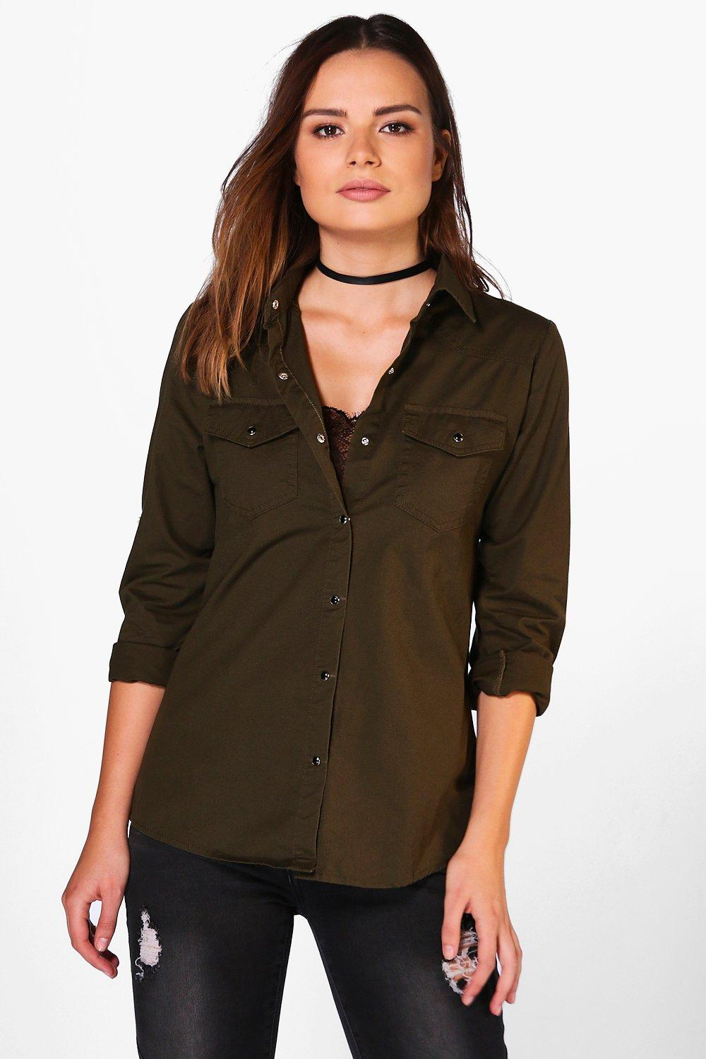 Abigail Khaki Denim Shirt