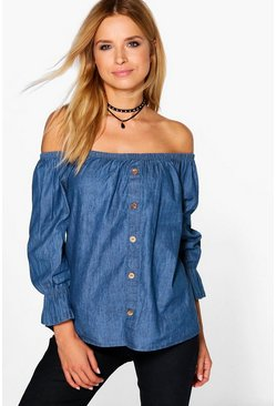 Lyndsay Off The Shoulder Denim Top
