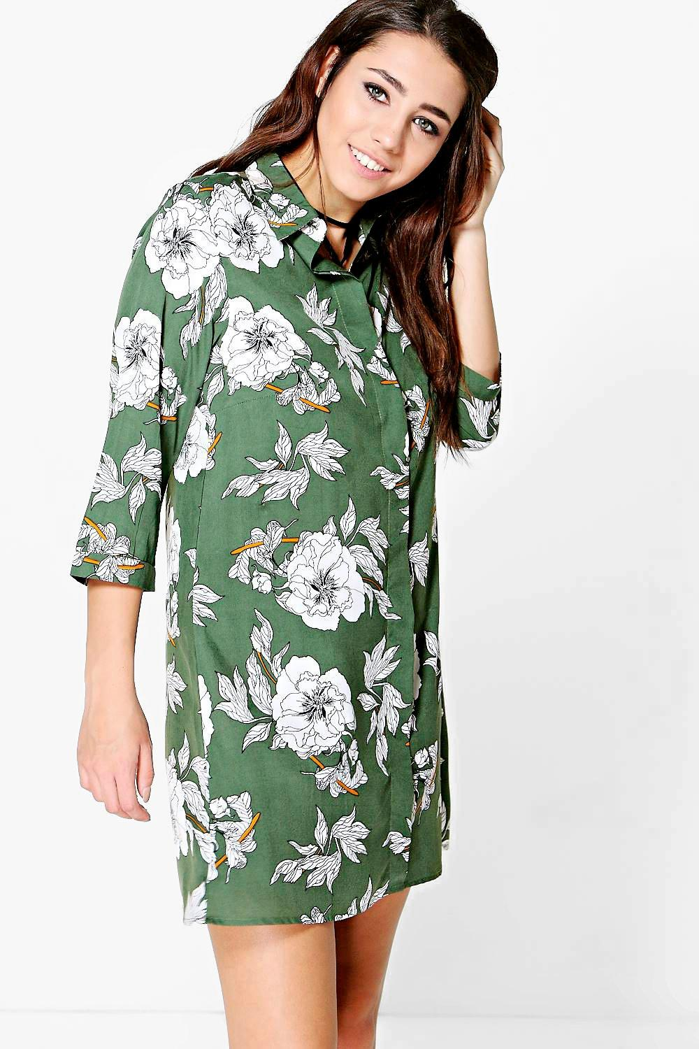 Printed Shirt Dress  khaki