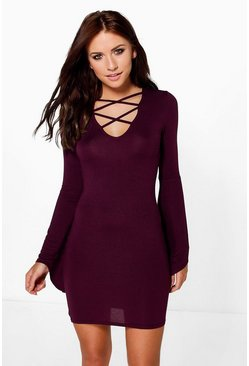 Bethany Flute Sleeve Cross Bodycon Dress